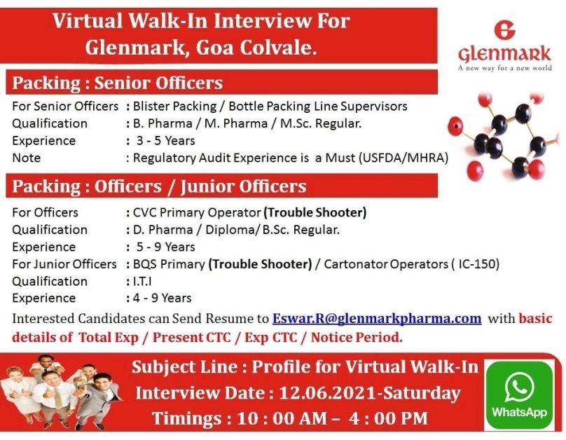 Walk In Interview For Diploma/ITI/Bsc/Msc/D. Pharma/B. Pharma/M. Pharma