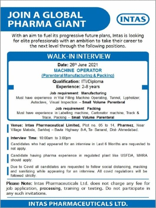 Walk In interview For ITI and Diploma Holders