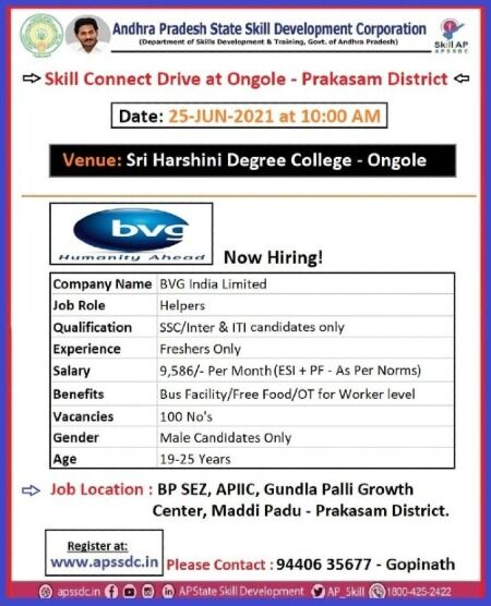 10th / 12th & ITI Candidates Job Recruitment For BVG India Limited