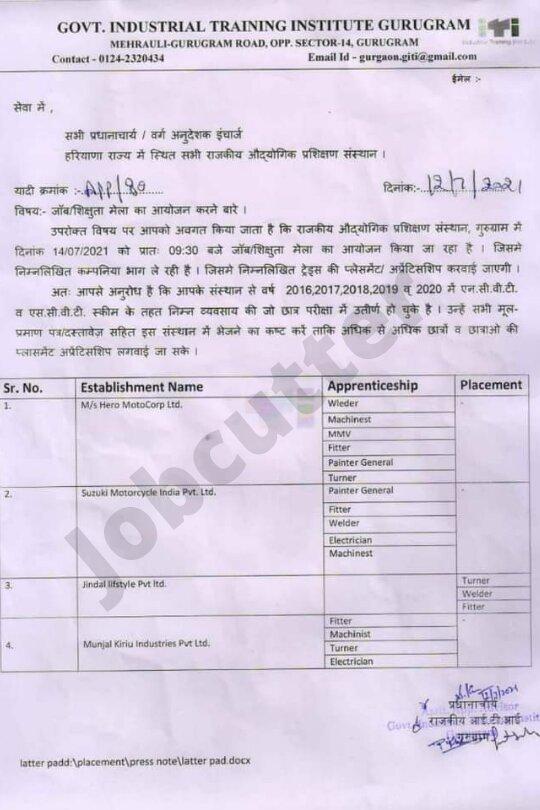 Job Mela In Govt. Industrial Training Institute Gurugram