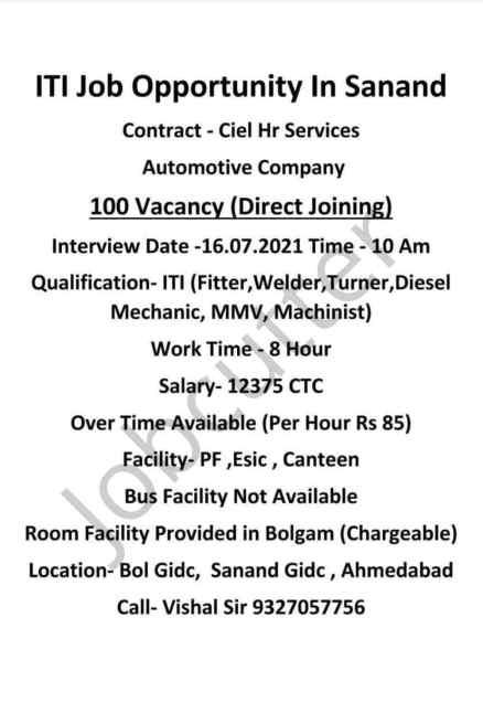 ITI Job Requirement For Fitter, Welder, Diesel Mechanic, Turner, MMV, Machinist