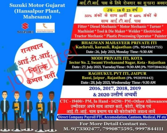ITI Jobs Campus Placement At Jaipur, Kota, Karauli