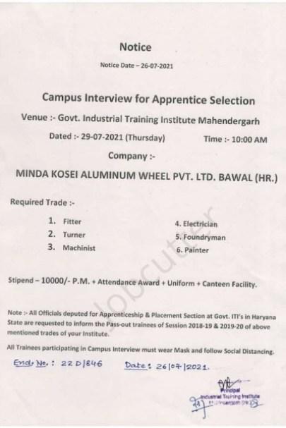 Campus Interview In Govt. ITI Mahendergarh