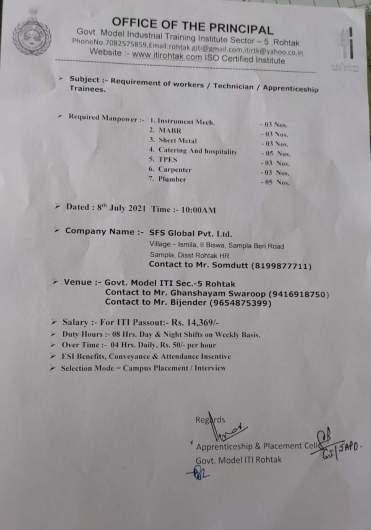 ITI Campus Recruitment In Govt Model ITI Rohtak