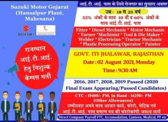Campus Placement In Govt. ITI Jhalawar, Rajasthan