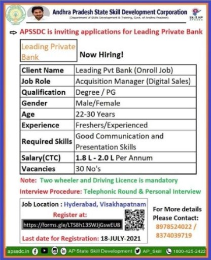 Leading Pvt Bank Freshers Experienced Candidates Job