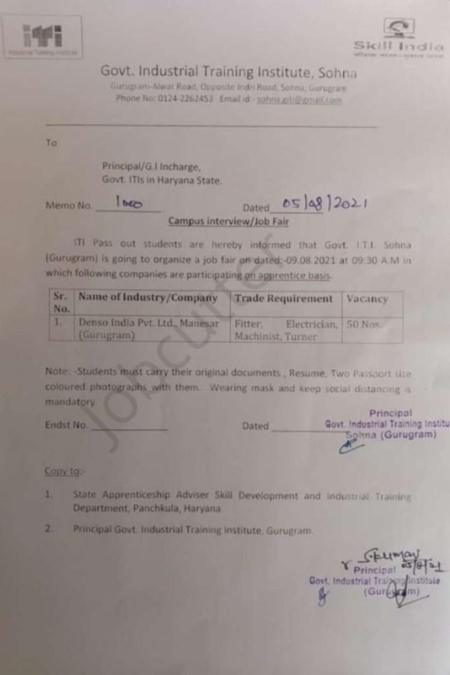 ITI Campus Placement At Govt ITI Sohna