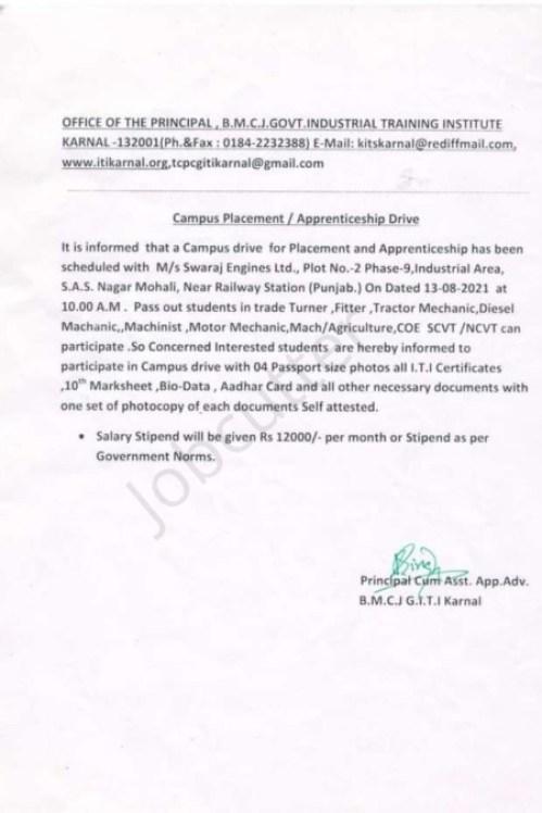 ITI Campus Placement At B.M.C.J Govt. ITI Karnal