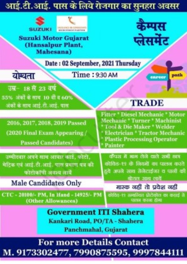 Campus Placement Drive At Govt ITI Shahera Panchmahal