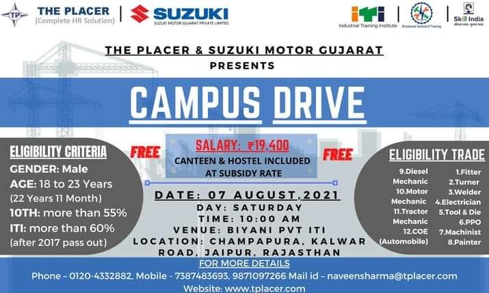 ITI Campus Placement In Biyani Pvt ITI Champapura 2021