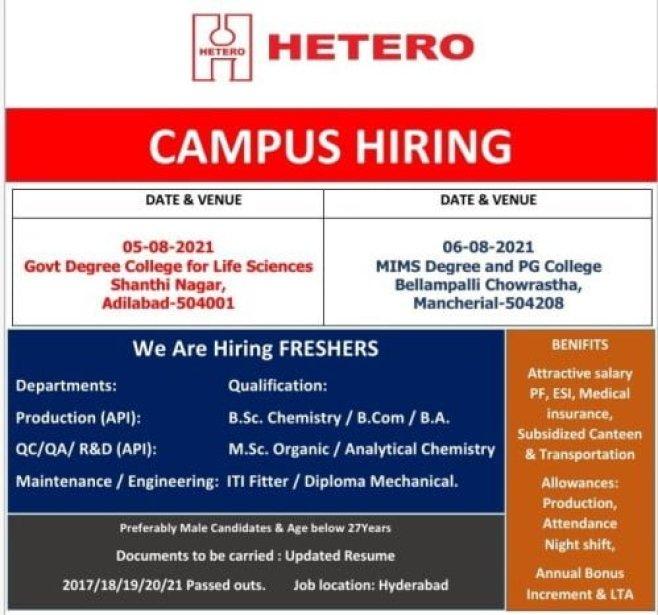 Hetero Pharma Company Campus Placement Drive