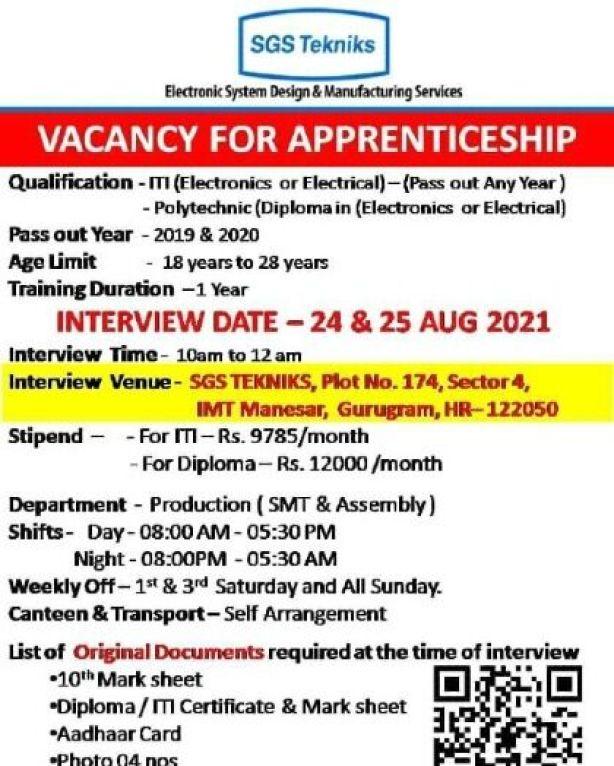 SGS Tekniks Manufacturintg Pvt Ltd Recruitment 2021