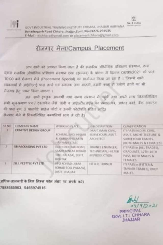 ITI Jobs Fair Govt ITI Chhara Jhajjar Haryana 2021