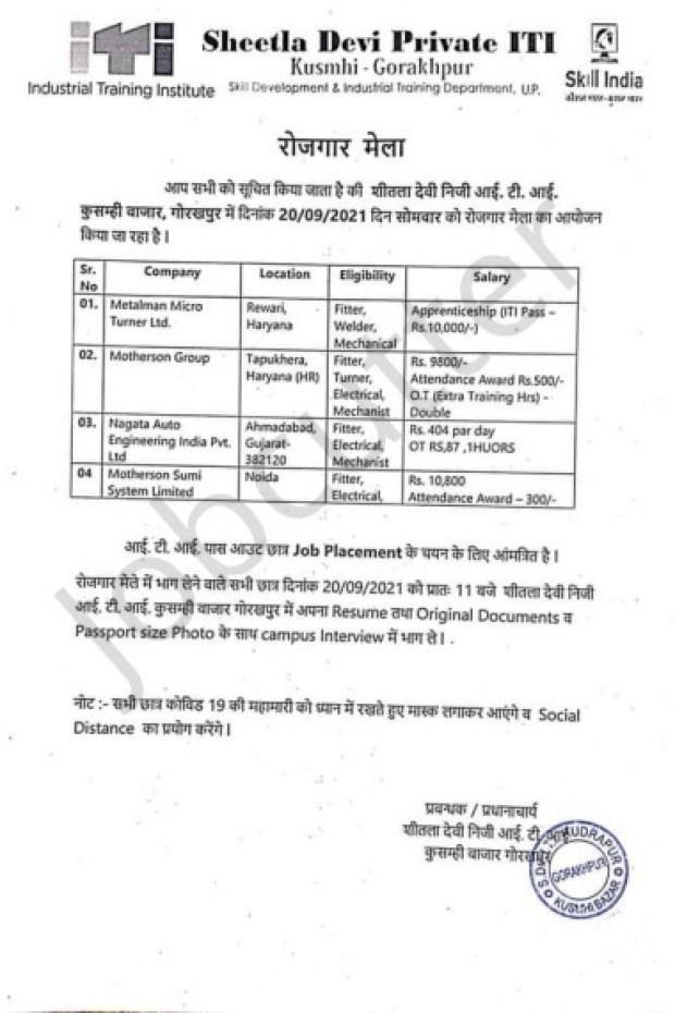 Vishal Rojgar Mela At Sheetla Devi Private ITI 2021
