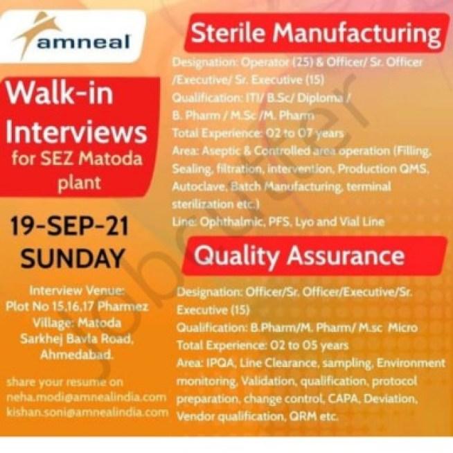 Amneal Pharmaceuticals Recruitment 2021 | Walk In Interview