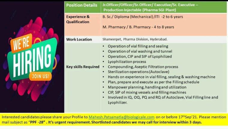 Biological E Limited Recruitment 2021 | Walk In Interview