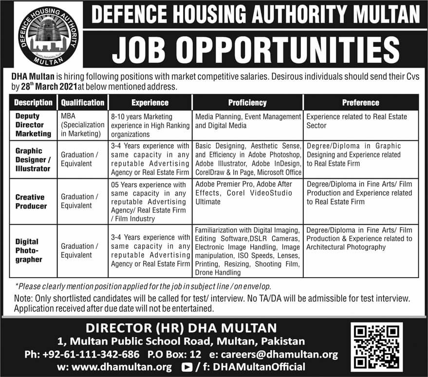 Defence Housing Authority Jobs 2021 Multan Jobs Advertisement