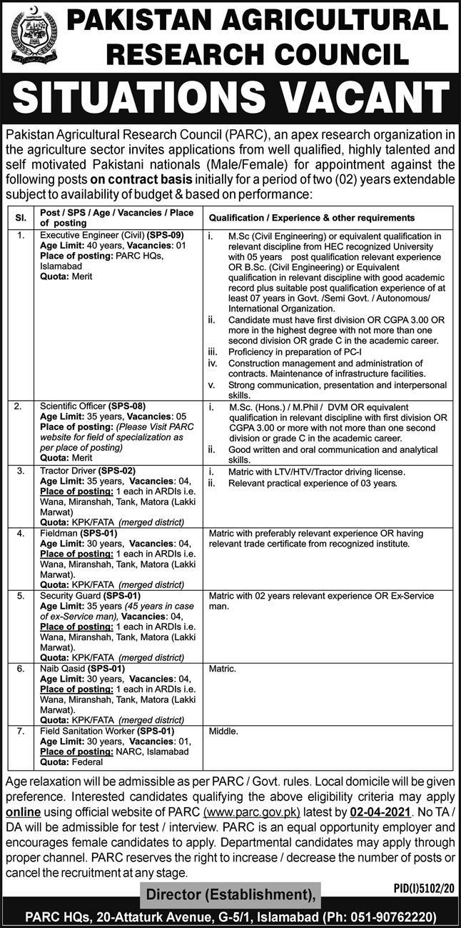Pakistan Agricultural Research Council Jobs 2021 PARC Jobs Apply Online Advertisement