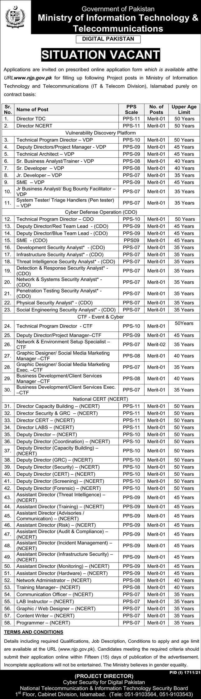 Ministry of Information Technology IT and Telecom Jobs 2021 Advertisement