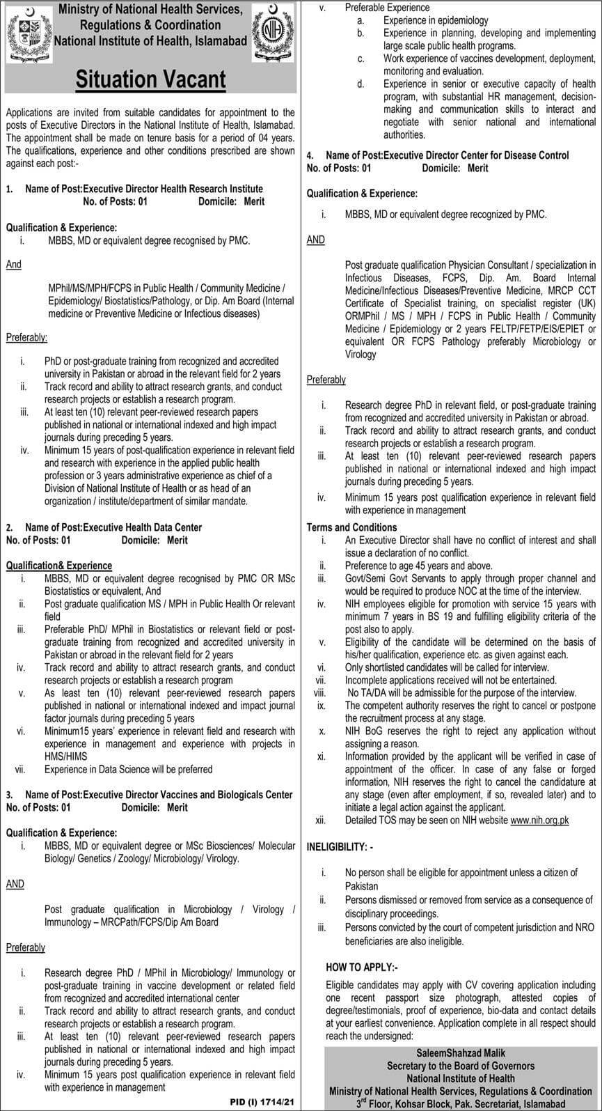 Ministry of National Health Services Regulations & Coordination Jobs 2021 Advertisement
