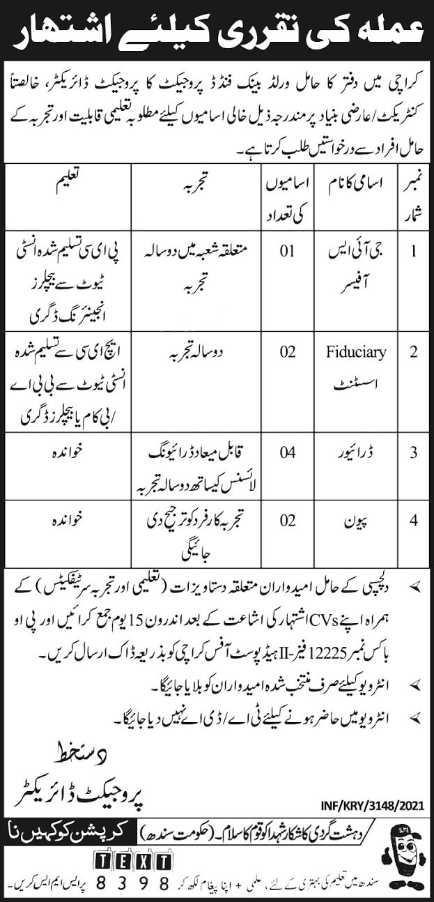 World Bank Funded Project jobs 2021 Advertisement