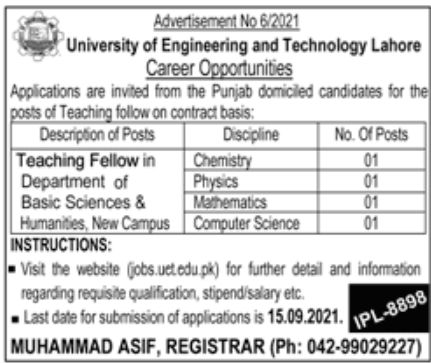 University of Engineering and Technology UET Lahore Jobs 2021 Advertisement: