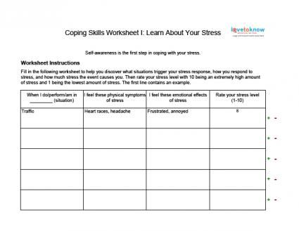 Stress management : Coping Skills Worksheets for Adults - JobLoving ...