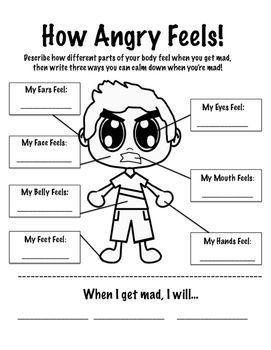 Stress management : Stress management : How Anger Feels Worksheet ...