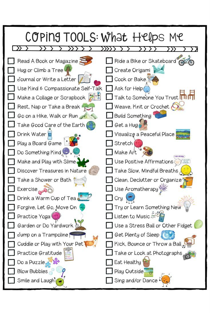 Stress management : Coping Skills for Kids Checklist. A ...