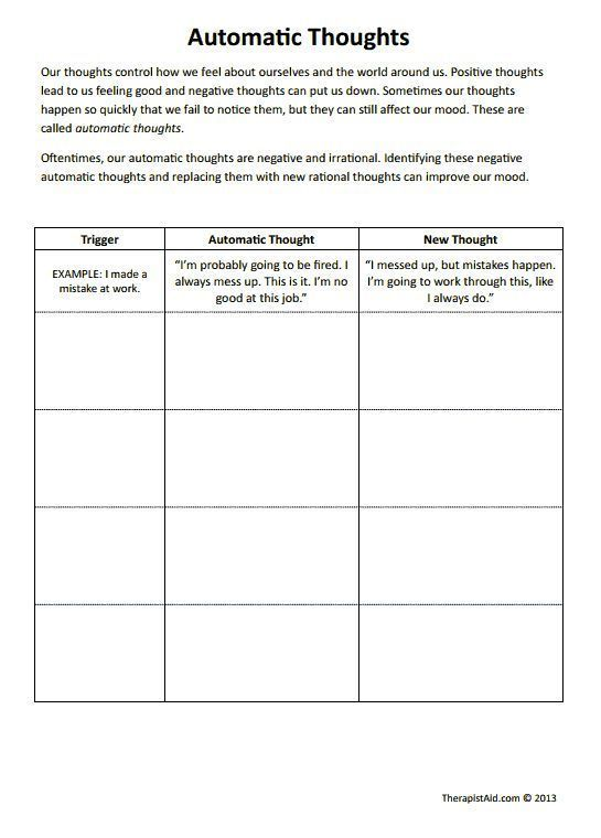 Stress management : CBT Worksheets! Automatic Thoughts Preview. Good ...