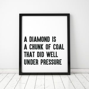 Work Quotes Large Diamonds Typographic Framed Print Find