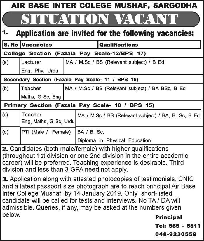 Jobs In Air Base Inter College Mushaf Sargodha 06 Jan 2019