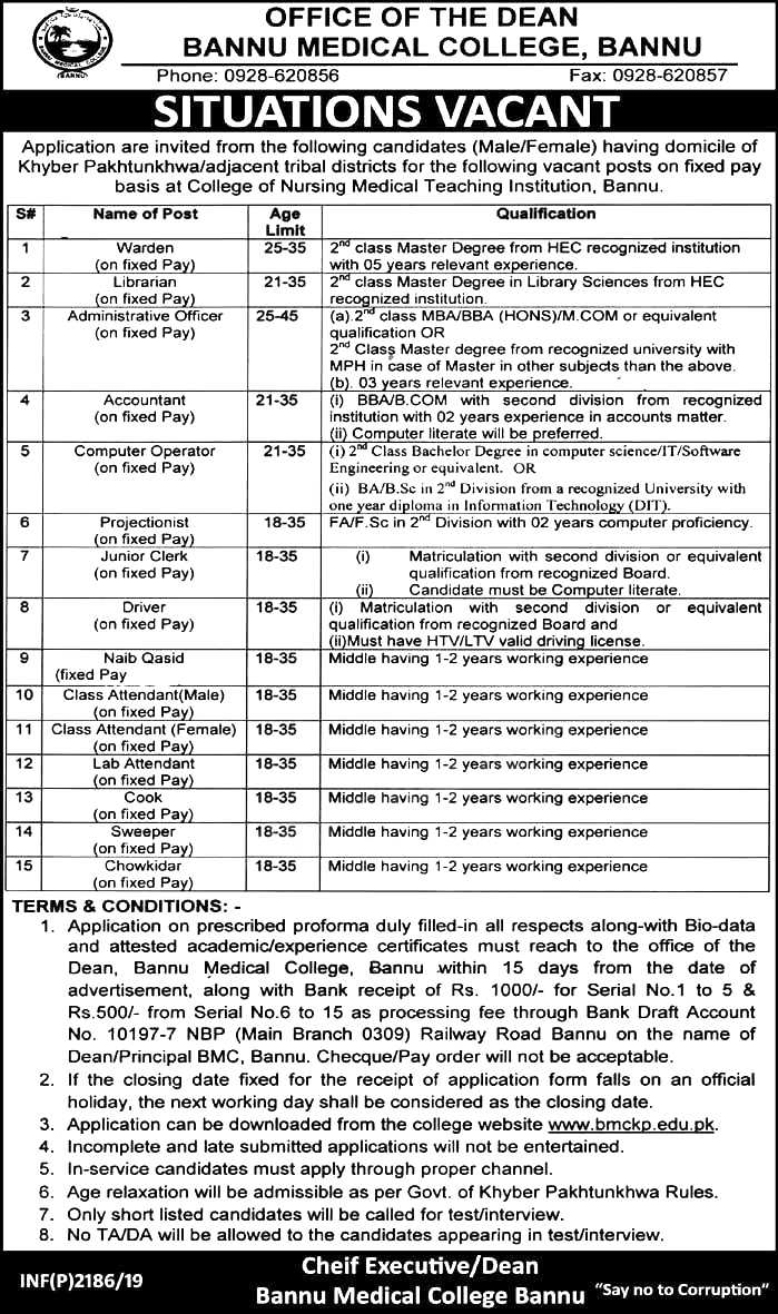 Jobs In Bannu Medical College 18 May 2019