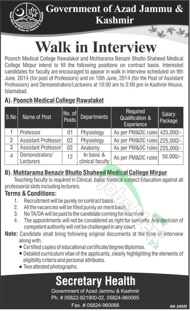 Government of Azad Jammu & Kashmir Jobs 2014 for Professor ...