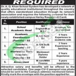 Career Opportunities in Dr AQ Khan School System for Teachers and Academic  Coordinator 2016