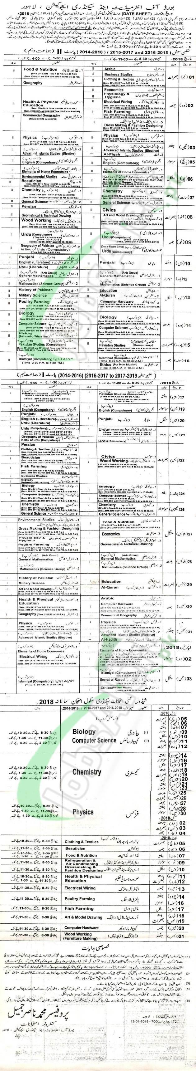 Matric Date Sheet 2018