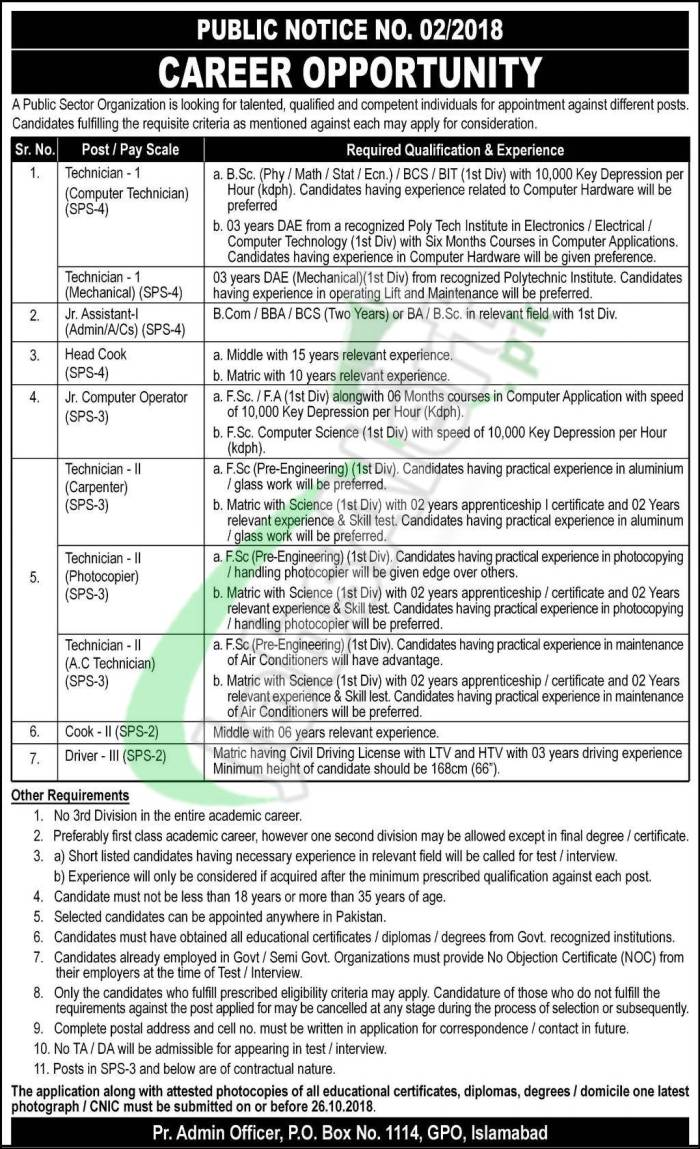 Atomic Energy Jobs October 2018 PO Box 1114 GPO Islamabad