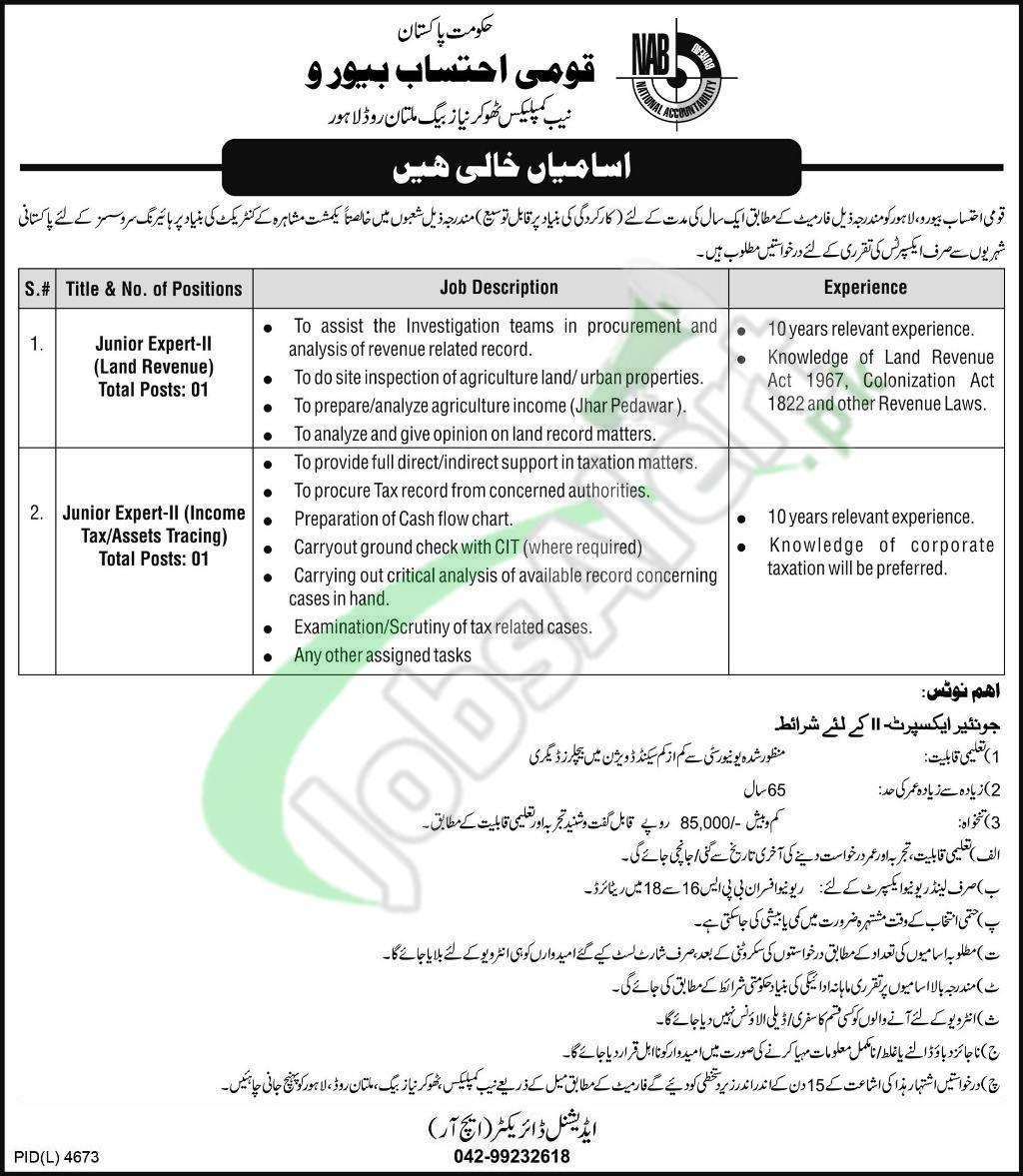 Nab Lahore Jobs Application Form Download Online