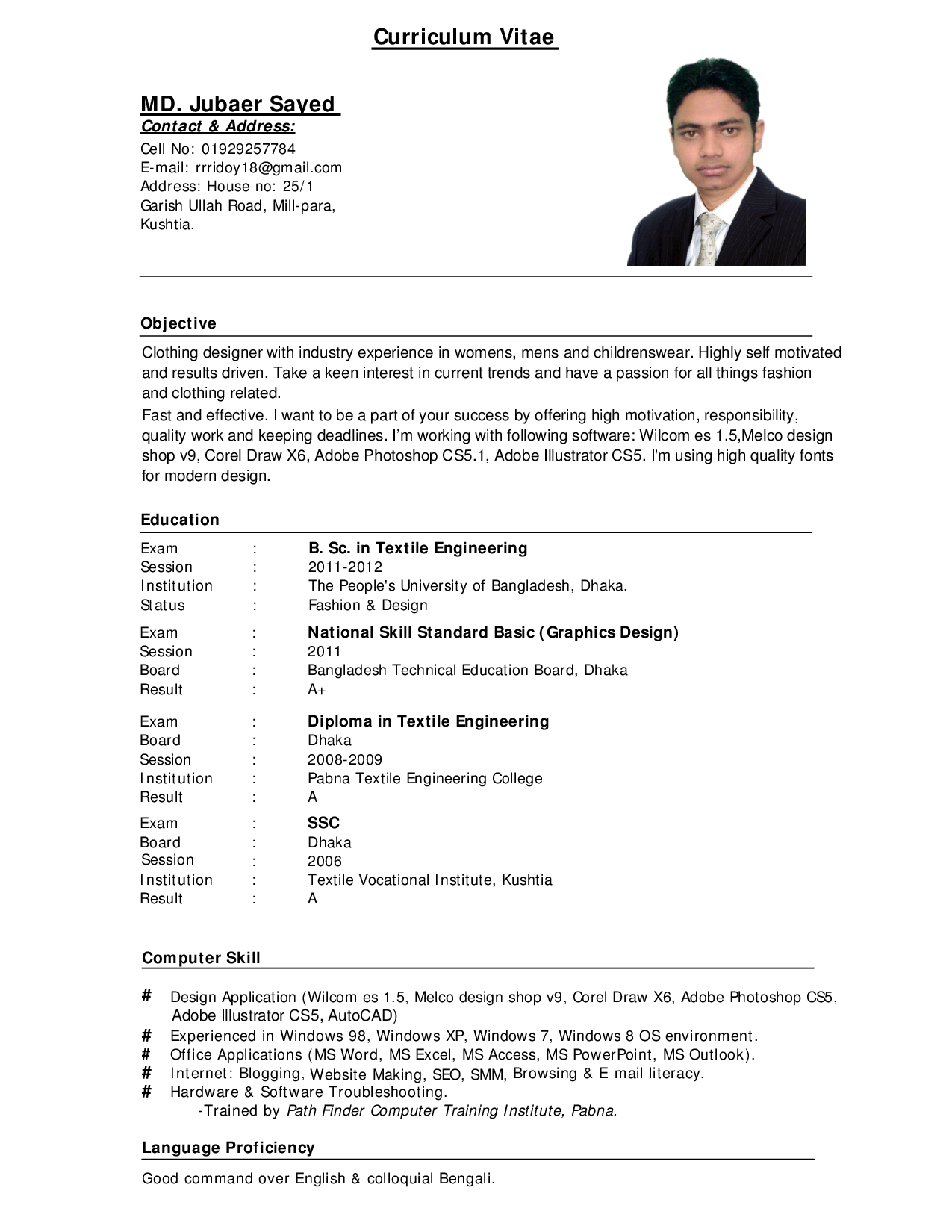 Good curriculum vitae samples