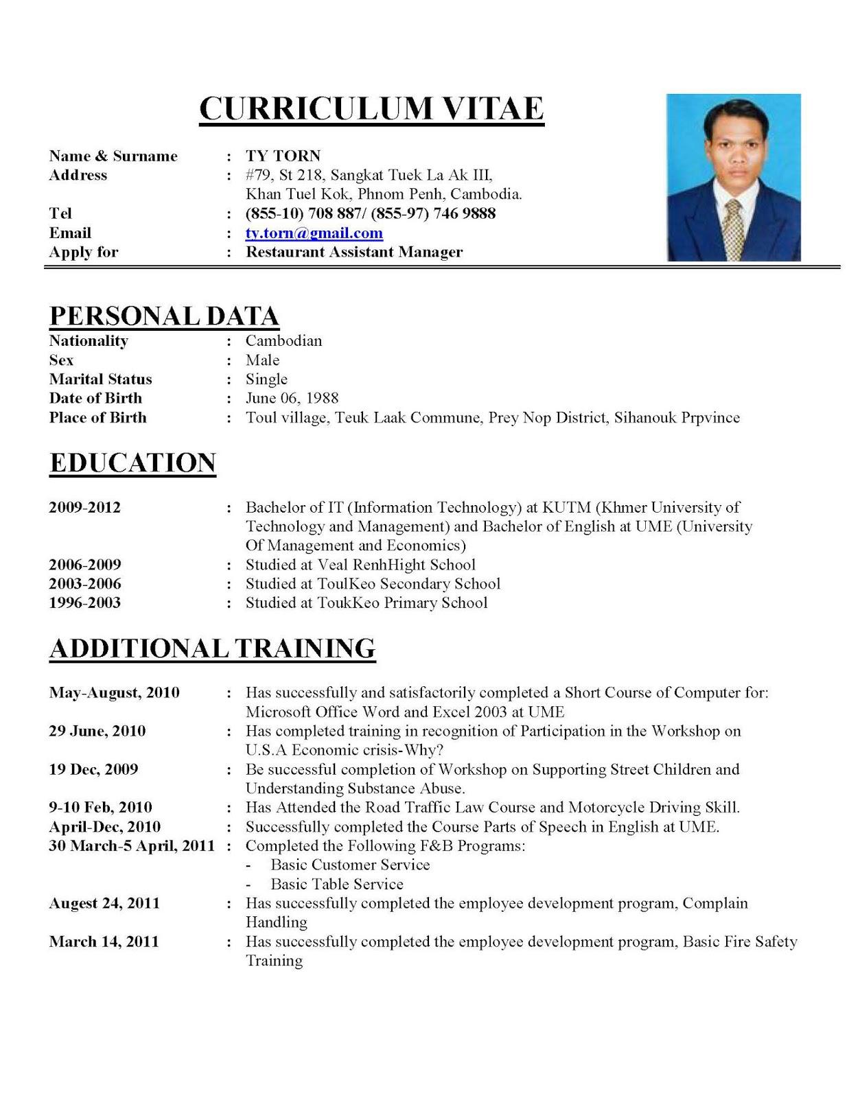 Writing A Perfect Curriculum Vitae U2013 Sample CV