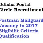 Odisha Postal Circle Recruitment 2018 Postman 96 Vacancy Eligibility
