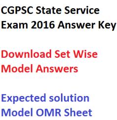 cgpsc answer key state services exam 2016 download pdf set wise a b c d aptitude general studies paper 1 2 solution model omr sheet chhattisgarh sse psc