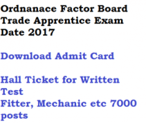 ordnanace factory board trade apprentice exam date written test admit card download 2017 ofb fitter mechanic electrician welder