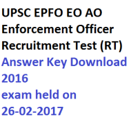 upsc epfo eo ao answer key download enforcement officer 2016 recruitment test rt written exam solved question paper fully pdf model solution 2016 2017 26th february
