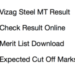 Vizag Steel MT Result 2018 | Cut Off Marks Expected Merit List