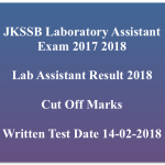 JKSSB Lab Assistant Result 2017-18 Cut Off Marks Merit List Download