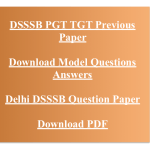 DSSSB PGT TGT Previous Years Question Paper Download Solved PDF