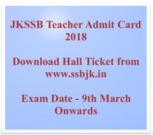 jkssb teacher admit card 2018 download jkssb hall ticket general teacher hall ticket jammu & kashmir hall ticket