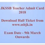 JKSSB Teacher Admit Card 2018 Download Exam Date J&K General Teacher