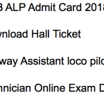 RRB Assistant Loco Pilot Admit Card 2018 Exam Date CBT Hall Ticket ALP Technician